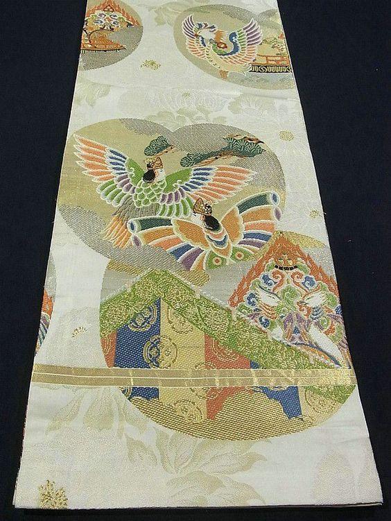 Antique Maru Obi by Kawashima Orimono ~~ Gagaku Design  http://www.ichiroya.com/item/list2/222455/