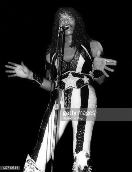 Singer Rick James performs at the International Amphitheater in Chicago Illinois in 1982