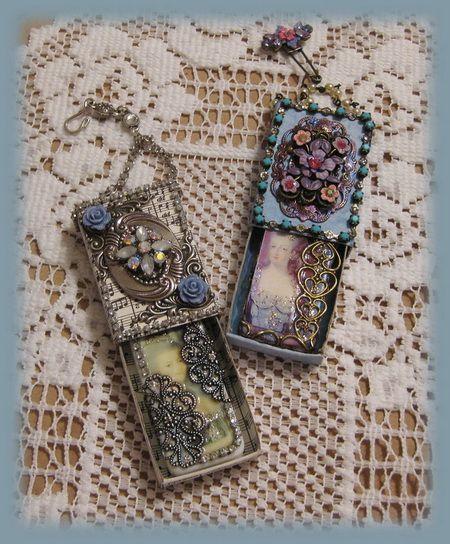 Jeweled matchboxes w/jeweled dominoes inside.