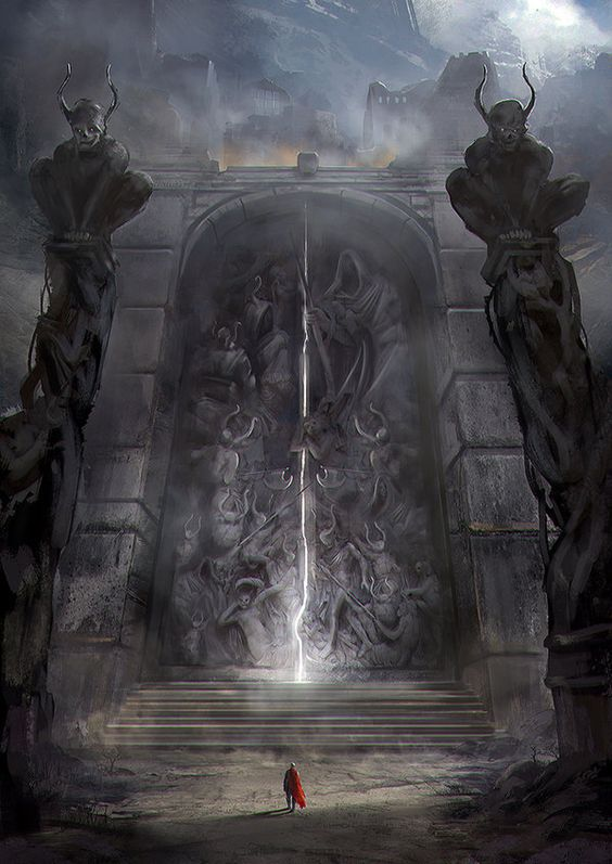 The Gates of Amhrak by jordangrimmer landscape location environment architecture | Create your own roleplaying game material w/ RPG Bard: www.rpgbard.com | Writing inspiration for Dungeons and Dragons DND D&D Pathfinder PFRPG Warhammer 40k Star Wars Shadowrun Call of Cthulhu Lord of the Rings LoTR + d20 fantasy science fiction scifi horror design | Not Trusty Sword art: click artwork for source: