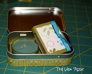 The Mint that Keeps on Giving: Altoid Tin Ideas 1. Purse-sized first aid kit...example here,  2. Tooth tin for the tooth fairy  3. Purse-sized sewing kit  4. Earphone container (I love this because now my earphones are never tangled up)  5. Change purse  6. Crayon container  7. Carry your sweetner of choice  8. Carry your pins (hair pins, safety pins, etc.)  9.  Decorate them for party favors (filled with candy or lipgloss, etc)  10.  Emergency candles or decorative (click here for tutorial)…