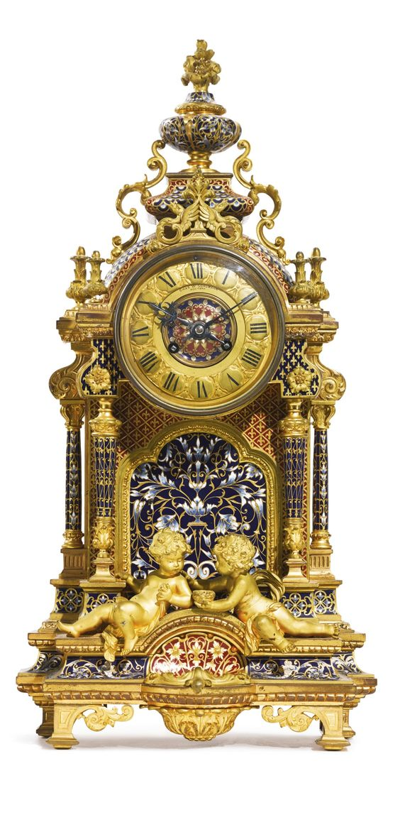 A gilt-bronze and cloisonné enamel mantle clock<br>France, late 19th century, retailed by Chas. W. Schumann, New York