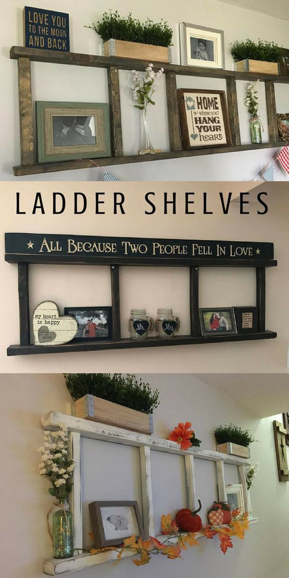 Ladder Shelves So Perfect For Farmhouse Rustic Primitive Style Home Decorating I Like The Top One The In 2020 Handmade Home Handmade Wall Decor Handmade Home Decor
