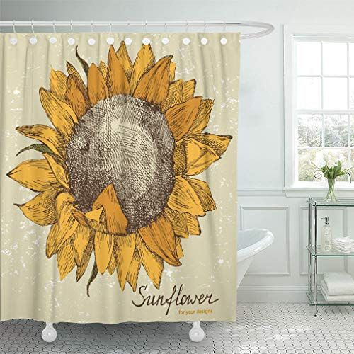 Emvency S Vintage Hand Drawn Sunflower Shower Curtain
