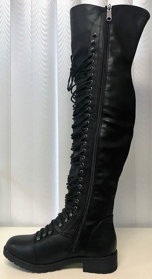 Womens Faux Leather Over the Knee Riding Boots w// Vintage Buckle Accent Black