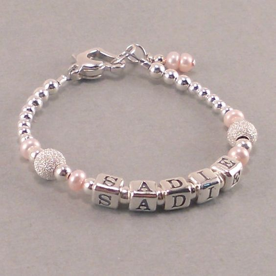 Baby Gifts Jewellers : Baby girl gift name bracelet sterling silver first