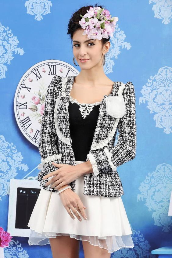 $19.75 Hot Sale Houndstooth Slim Flouncing Worsted Jacket