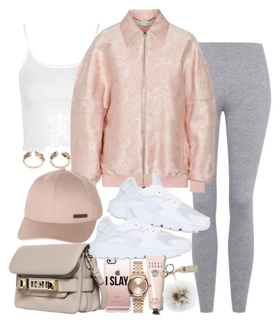 """Untitled #1695"" by victoriamk ❤ liked on Polyvore featuring Topshop, STELLA McCARTNEY, Casetify, Proenza Schouler, NIKE, Billabong, Bobbi Brown Cosmetics, Nixon, Overland Sheepskin Co. and baseballcap"