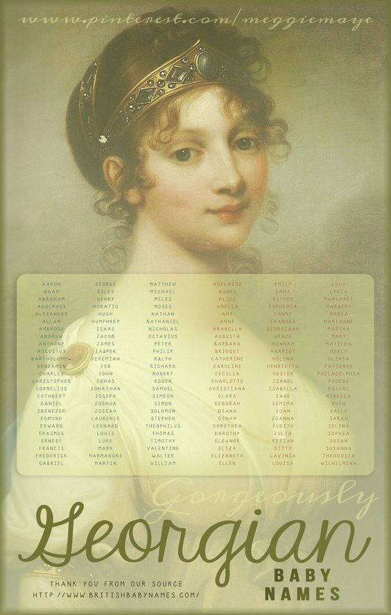 Gorgeously Georgian. The most popular baby names in Britain during the beautiful Georgian Era. From powdered wigs and hoops to the slim-lined elegance of the Regency, the Georgians really knew style. It was a time of great political and social reform, architectural achievements, and military heroics.
