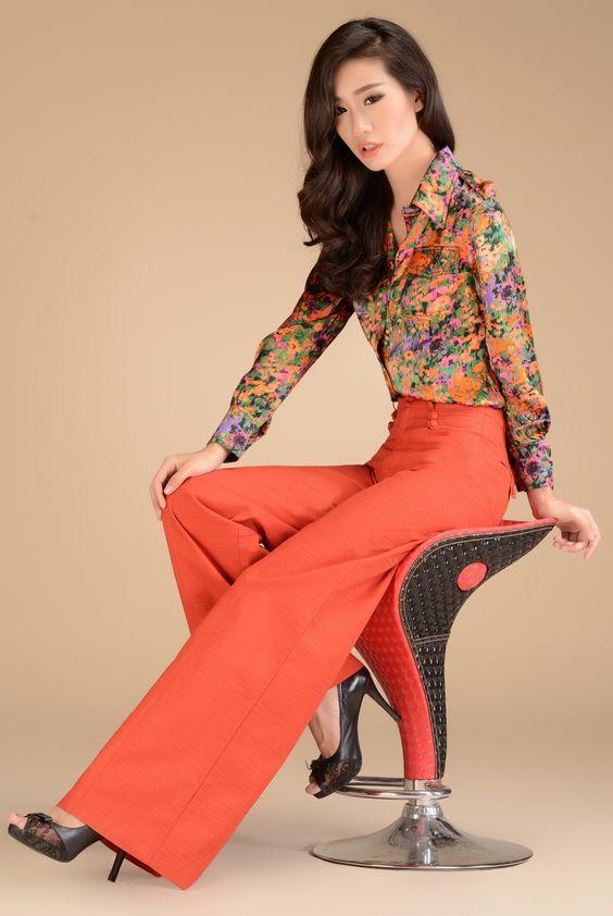 2013 Fashion Formal Womens High Waist Linen Orange Trousers - Fall ...