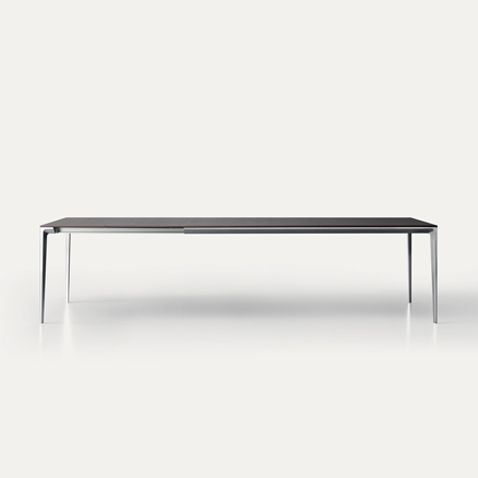Long Island In Rectangular Extensible Version With Polished Aluminium Structure And Heat Treated Oak Top Dining Table Table Dinning Table