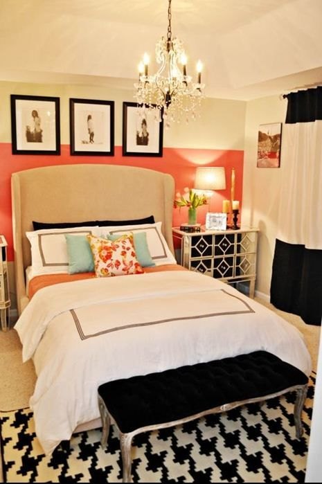 A bedroom fit for a fashionista black white bedrooms for Black white and orange bedroom