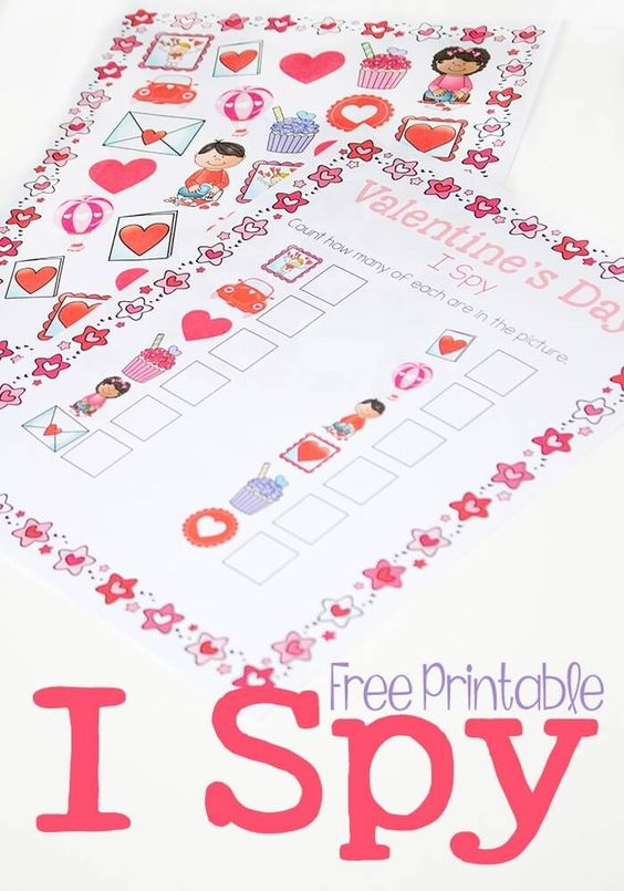 Cute I Spy Valentine's activity to keep your child entertained - free printable