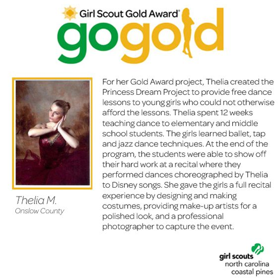 "Give it up for Thelia for earning her Girl Scout Gold Award! Thelia created ""Princess Dream Project"" in which she taught 12 weeks of free dance lessons to young girls. She also organized a full recital experience, with makeup and costumes, at the end of the dance lessons. Great job, Girl Scout!"