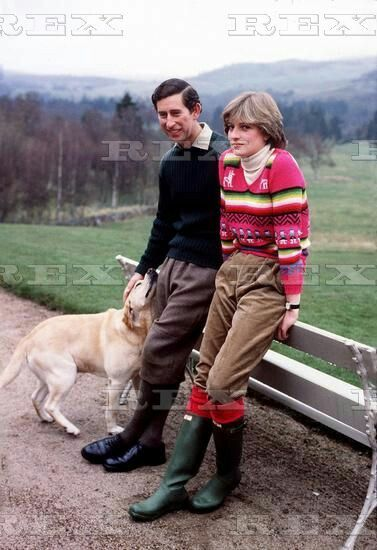 May 6, 1981: Prince Charles & his fiance, Lady Diana Spencer & their dog, Harvey at Craigowan Lodge on the Balmoral Estate.