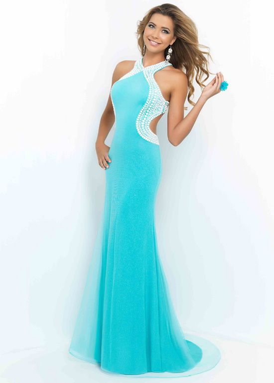 Halter Turquoise White Beaded Crisscross Back Evening Gown - Prom ...