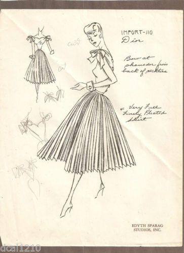 vintage original dior fashion designs sketch stat sheet