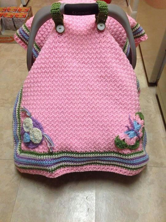 Free Crochet Pattern For Baby Car Seat Cover : Pink car seat cover Crochet Pinterest Car seats ...