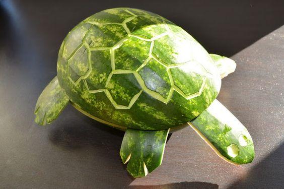 Ganz untem steht wie eine Melone zur Obstsalat Schildkröte wird! Super für die Kita!!!