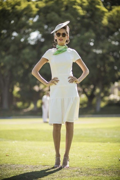 White Fit and Flare Cricket Dress from the Sydney City Collection by Shabby Apple