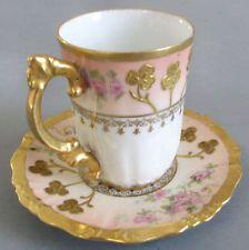 Antique porcelana de Limoges chocolate Cup & Saucer PINK ROSES w Lush DORADO Pega