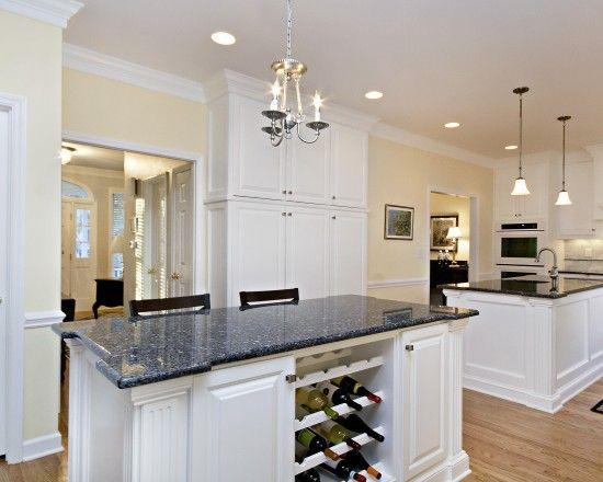 Blue pearl granite cream paint white cabinets kitchen for White kitchen cabinets with blue pearl granite