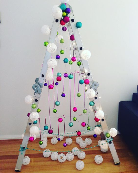 """Early start #brightandshiny #colors #colours #baubles #ladder #ladderxmastree #xmastree #xmas"""