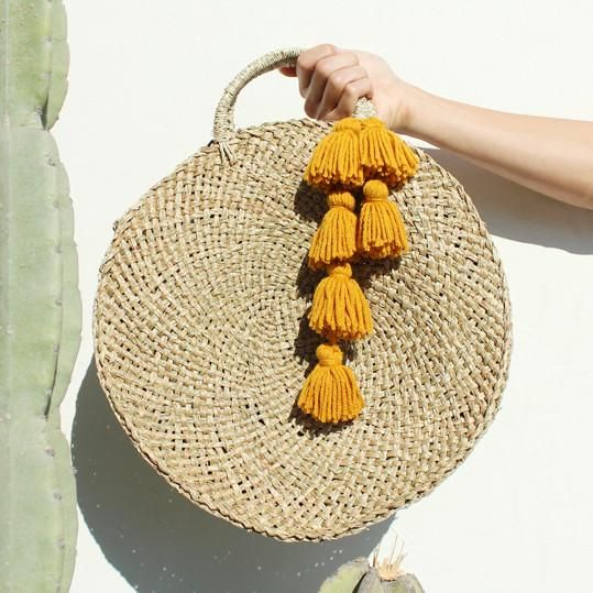 Brunna Luna Straw Bag with Light Gold Tassels