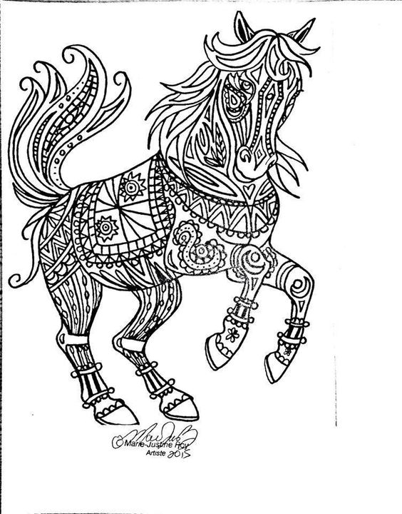 Free coloring page tribal horse art by marie justine roy for Tribal coloring pages