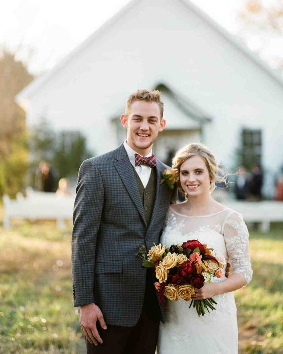 An Intimate Thanksgiving Wedding in Mississippi | Martha Stewart Weddings - Kate and Nathan celebrated their big day with 35 guests in Toccopola, Mississippi. Both of their families came together to make the couple's day a memorable one, complete with endless fall details and Thanksgiving family traditions.