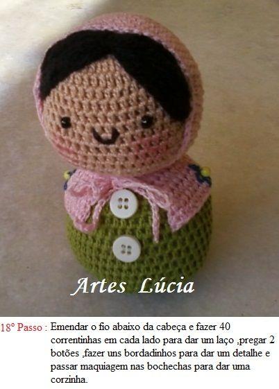 Artesanatos da Lúcia: Boneca Amigurumi de Croche