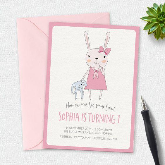 Invito di compleanno coniglietto coniglio invito di MiniMoiPrints