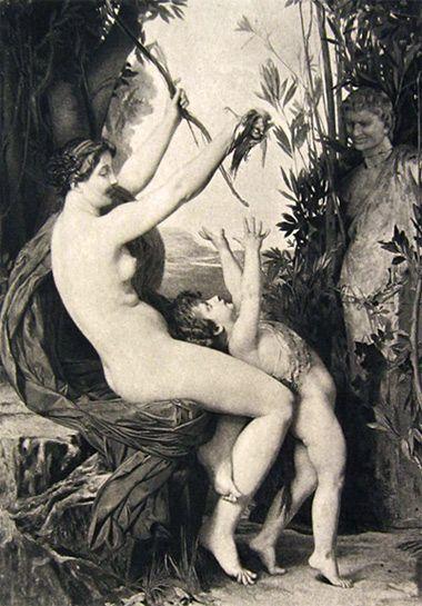 Nymph & Bacchus Antique Art Print ~ Jules Lefebvre