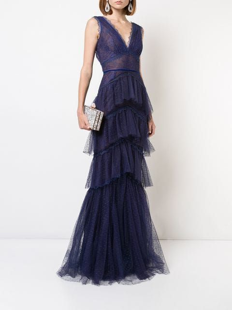 Marchesa Notte Tiered Chantilly Lace Gown In 2019 Marchesa