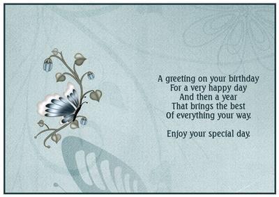 A Butterfly Birthday Insert
