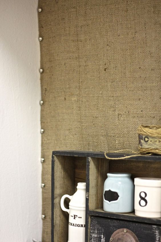 easy burlap kitchen backsplash