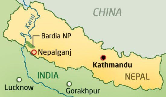 Map Showing The Location Of The Capital Of Nepal Nepal Kathmandu