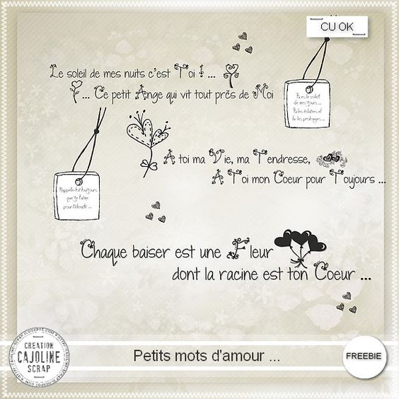 Cajoline scrap wordarts petits mots d 39 amour 1 petit mots - Idee scrapbooking amour ...