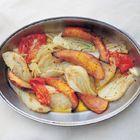 Geroosterde pompoen, knolselderij en venkel van The River Cafe . Ik heb er gebakken vis en een knolselderij-aardappelpuree met verse bieslook bij geserveerd. Voor herhaling vatbaar!