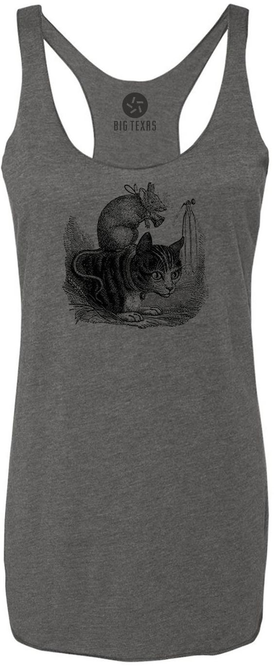 Cat and Mouse (Black) Tri-Blend Racerback Tank-Top