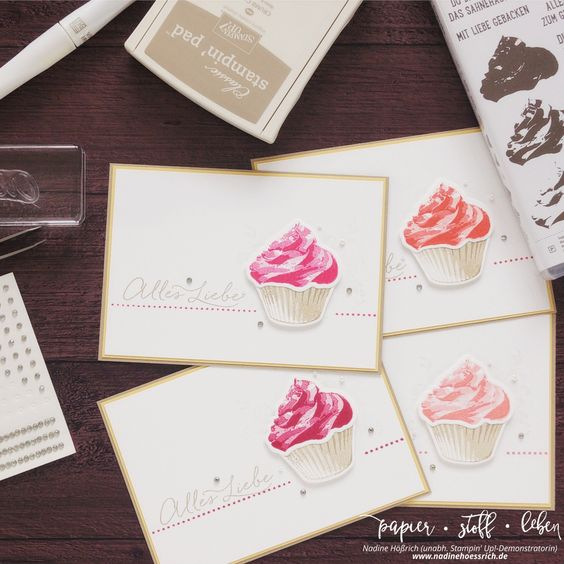 Geburtstagskarte mit Cupcake für dich & Cupcake-Kreationen   Birthdaycard with Sweet Cupcake & Cupcake Cutouts Framelits  Stampin' Up! & nadinehoessrich.de