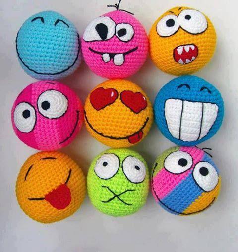 Crochet Amigurumi Faces : Inspiration... Crochet amigurumi smiley faces hakeln ...