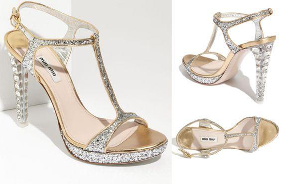 sparkly miu miu wedding shoes