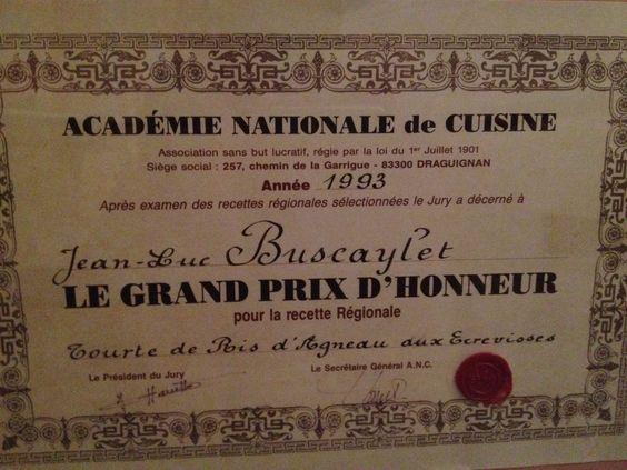 Consultant restauration - Jean-Luc Buscaylet - Prix d'honneur de l'Académie Nationale de Cuisine en 1993