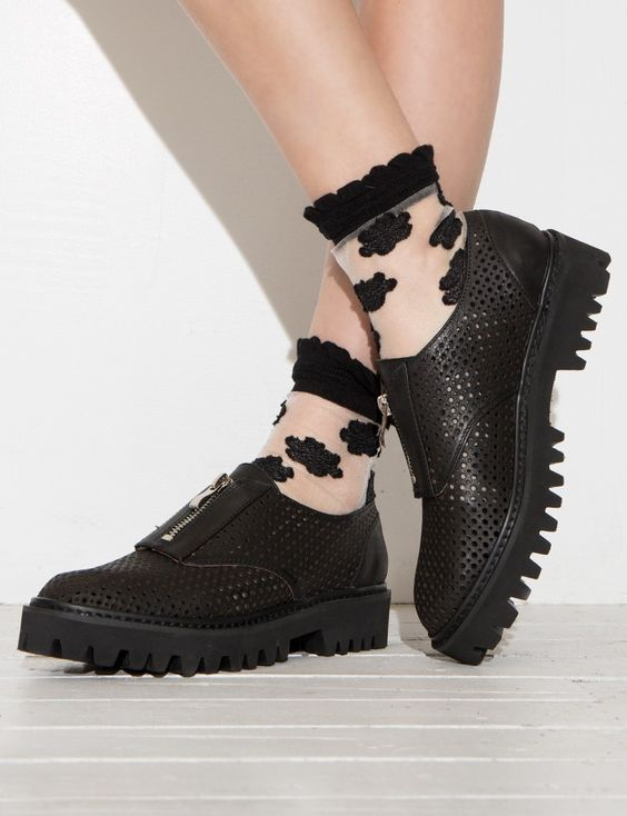 Jeffrey Campbell Loafer Shoes - Black Zip Loafers