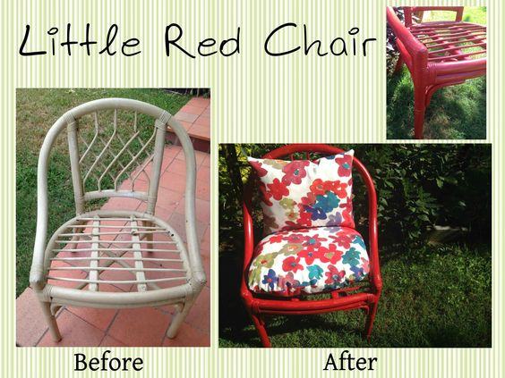 Little Red Chair We found this cane chair on the side of the road, and couldn't resist giving it a second life. We wanted the chair to stand out and be bold (as there is only one chair), yet we wanted to soften the look by distressing the cane, and adding floral pillows. We are very happy with the final look and we would love someone to give this little red chair a home. It is perfect for a covered outdoor area such as a sun room or veranda, and is not recommended to leave outdoors.