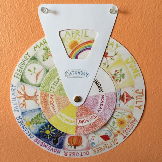 For the Northern Hemisphere (Im working on a Southern Hemisphere version. Message me and Ill add you to the list to be notified when its ready).  A beautiful way to flow through the rhythm of your week and year. My circular calendar depicts the twelve months of the year on the outer circle with hand drawn images that correspond to the season or holiday. The inner circle depicts the seven days of the week in colors that correspond to those used in waldorf education. Both circles turn to…