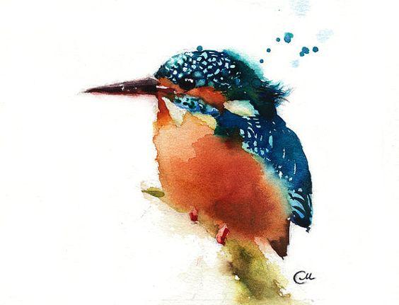 Aquarelle oiseaux Kingfisher - Original Aquarelle peinture 7 4/5 x 7 4/5 pouces