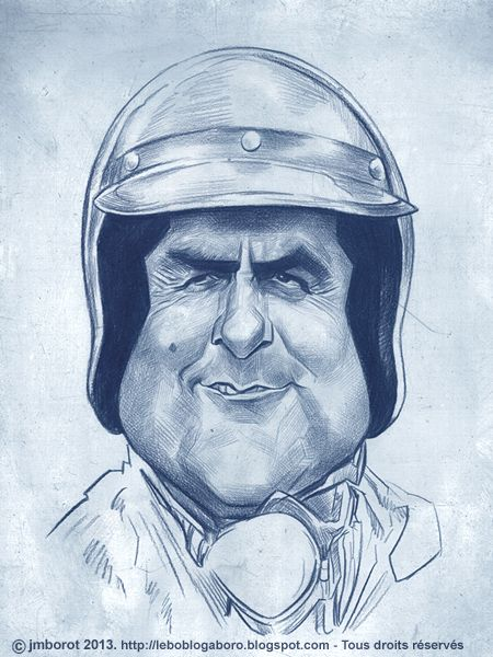 Caricature of Jack Brabham.