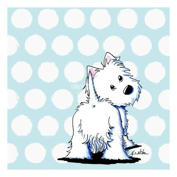 """Fluffybutt Westie"" by Kim Niles, Oak Harbor // Westie Terrier dog art by KiniArt Artist, Kim Niles. © KiniArt - ALL Rights Reserved. // Imagekind.com -- Buy stunning fine art prints, framed prints and canvas prints directly from independent working artists and photographers."